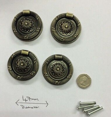 4x Vintage Style Victorian Georgian Bronze Large Drawer Handles Ring Pulls