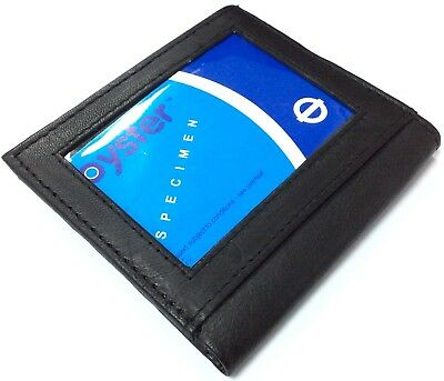 Mens  Leather Ultra Slim Mini Credit Card Note Case Wallet Black Uk P&p 204