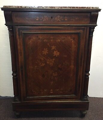 American Aesthetic Movement floral inlaid marble top side cabinet attrib. Herter