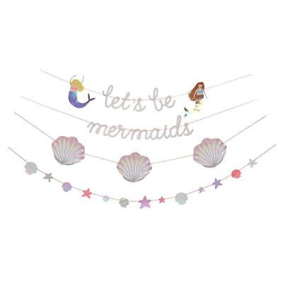 Meri Meri Let's Be Mermaids Iridescent and Holographic Shells Party Garland