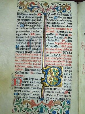 ILLUMINATED INCUNABLE PRINTED ON VELLUM 1st BREVIARY EVER PRINTED -Rubeus 1474-