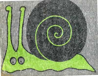 WEIRD SNAIL vintage 70s iron on t shirt transfer full size