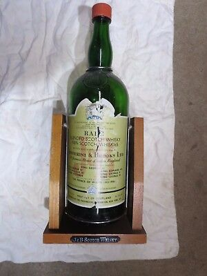 J&B Scotch Whiskey Empty Bottle ONE GALLON WITH Wooden Swing Stand