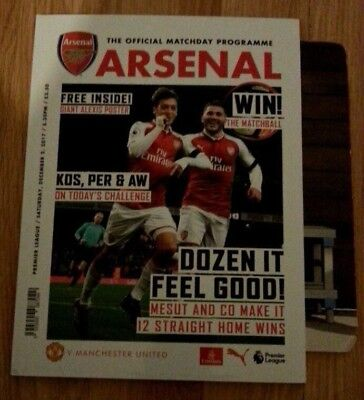Arsenal vs Manchester United |1-3| 02/12/2017 Official Match Programme