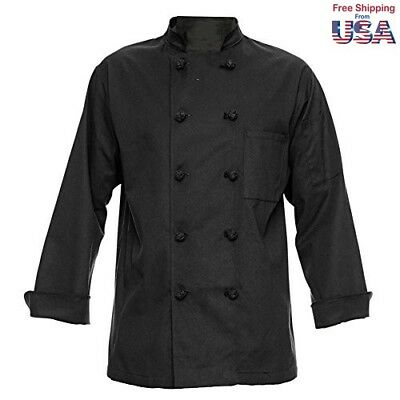 350 Chef Apparel 10 Knot Button Chef Coat-Easy-Care Twill,Black,X-Larg