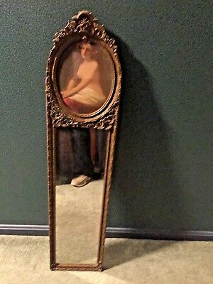 Vintage Antique Art Deco Etched Wood Gold Painted Wall Mirror 1920 -30's