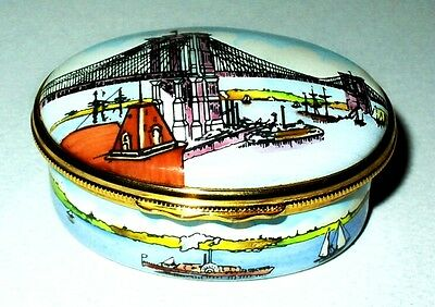 Halcyon Days Enamel Box - Tiffany - Brooklyn Bridge & Boats - New York City