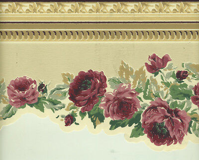 Victorian Roses Sculptured  WALLPAPER BORDER-30ft
