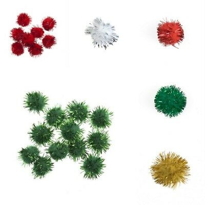 Glitter Pom Poms Loose, great quality - 2 Sizes and 4 Colours  - Free Postage