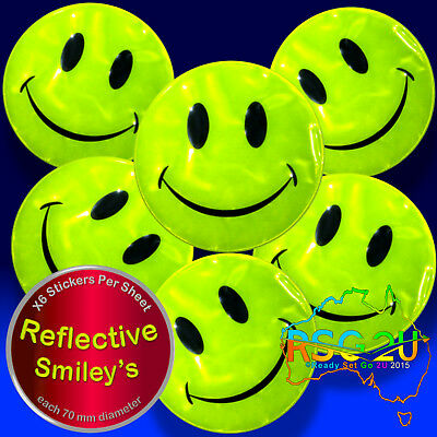 Stickers 😊smiley Faces Reflective Vinyl High Vis Fun Safety Bag Bike 6/12/30 Pc