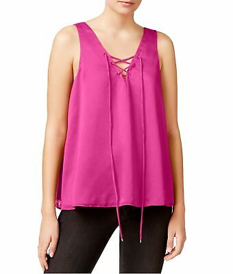 ac18cd8d714 RACHEL RACHEL ROY Womens Pink Sheer Lace-Up Sleeveless Tank Top 2XL ...