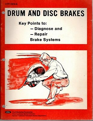 1974 Ford Drum And Disc Brakes Manual Guide Book Booklet M085