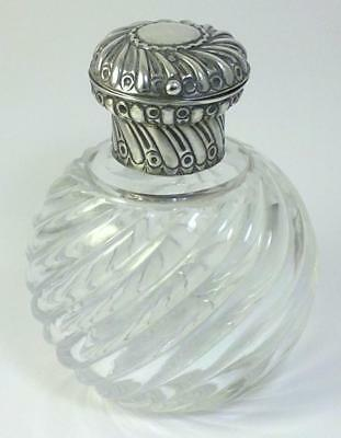 Victorian hallmarked Silver-lidded Crystal Scent/Perfume Bottle – 1887 by Comyns
