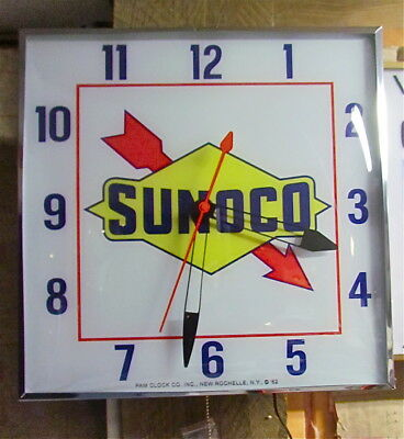 Vintage PAM Clock Style Sunoco Gas & Oil Advertising Clock New (See Description)