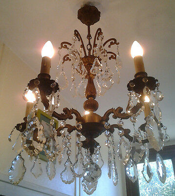 Antique French Louis XV Brass & Crystal Chandelier Ceiling Light 5 arms