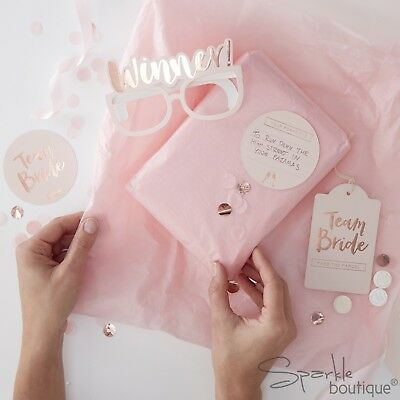 PASS THE PARCEL HEN PARTY GAME KIT - Classy Pink / Rose Gold - TEAM BRIDE RANGE