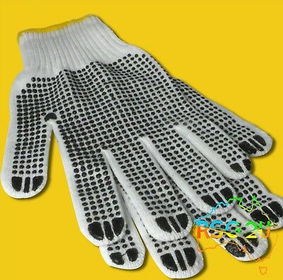 White Cotton Work Gloves With Soft Black Rubber Grip Dots Non Slip General Use