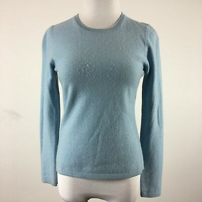 Ann Taylor Womens Cashmere Sweater Crew Neck Light Blue Size S Long