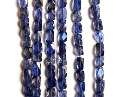 """14"""" 1 Line Natural Iolite Faceted Cube Gemstone Beads 4X5 - 4X6 Mm #97-1"""
