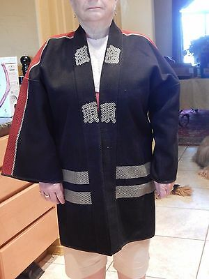19th/20 c Japanese Antique Sashiko Hikshibantan Reversible Fireman Coat Black