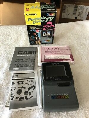 NEW Vintage Casio TV-770BX Portable Color Handheld TV UHF VHF Battery Operated