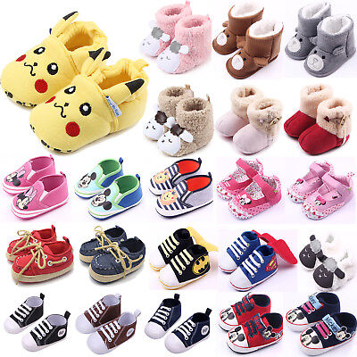 Infant Baby Boy Girl Soft Sole Sneakers Crib Pram Shoes Prewalker Booties Boots