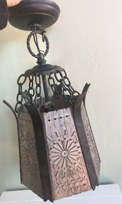 VTG Gothic Thomas Industries Spanish Metal Hammered Hanging Light Chandelier
