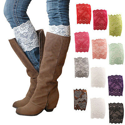 Woman's Stretch Lace Boot Cuffs Leg Warmers Trim Toppers Socks Adornment