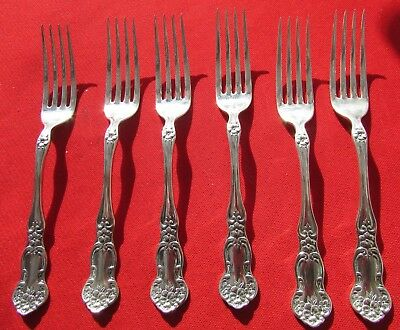 """1910 Daisy Pattern 6 Forks By Simeon  L & George H Rogers Silver Plate 7 1/4"""" Lg"""