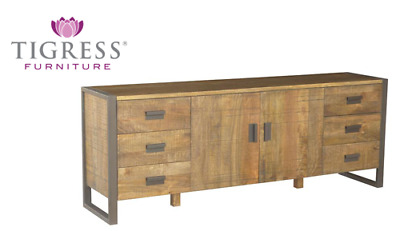 """Urban"" Solid Hardwood Timber Rustic Metal Accent Buffet Side Board FLOOR STOCK"