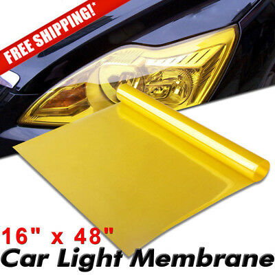 "Wrap Vinyl Film Smoke Headlight Yellow Lights Car Suv Tint 16*48"" 48"" 40cm Fog"