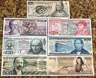 7 billetes Banco de Mexico 1970-1980 5,10,20,50,100,500 y 1000  Sin Circular