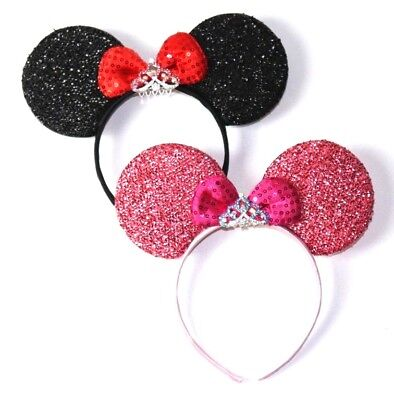 2 Minnie Mouse  Headband  Ears Pink and red Bow with tiara Disney adult/kid cute