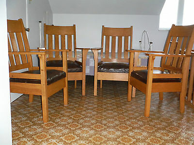 4 Mission Style Chairs In Wood
