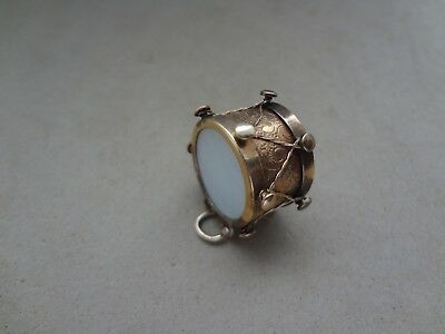 Vintage 14K Yellow Gold Civil War Drum Charm Pendant W/ Mother Of Pearl Inlay