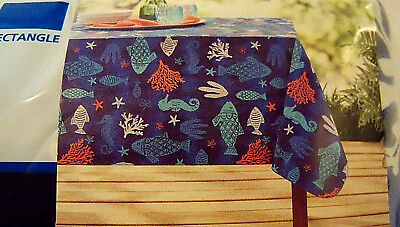 Mainstays Fish Coral Starfish Sea Ocean Vinyl Rectangular Tablecloth 60 X  102