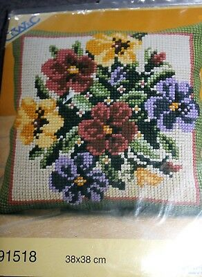 New in Packet CUSHION Embroidery KIT - FLOWERS 38cm x 38cm  NEW