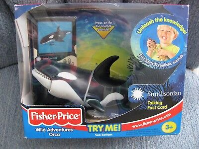 Vtg Fisher Price Smithsonian Wild Adventures ORCA MINT BOX Works & Tested   CET