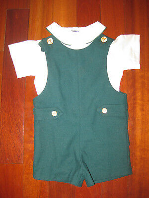 TOO CUTE! Vintage 70s Good Lad Boys Green Overall Jumper One-Piece w/Shirt 2T