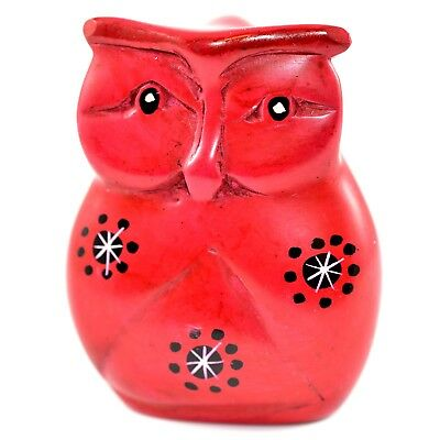 "SMOLArt Hand Carved Soapstone Rock Red Owl Bird 3"" Figurine Made in Kenya"