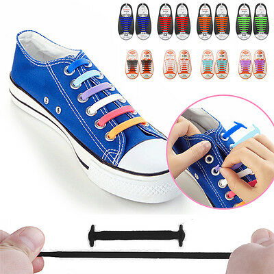 Easy No Tie Elastic Shoe Laces Silicone Trainer Shoes Adult Kids Sport Shoelaces