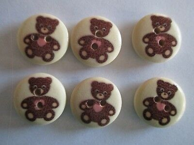 6 x  18mm Wooden BUTTONS- BROWN TEDDY BEAR - Sewing or Scrapbooking No1344