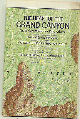 Vintage 1978 National Geographic Map The Heart of the Grand Canyon