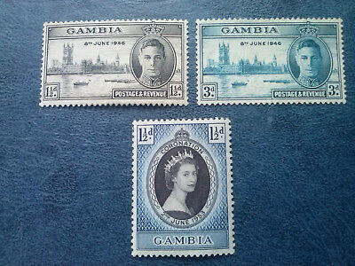 1946 Gambia 2 stamps Victory Mint + coronation 1953
