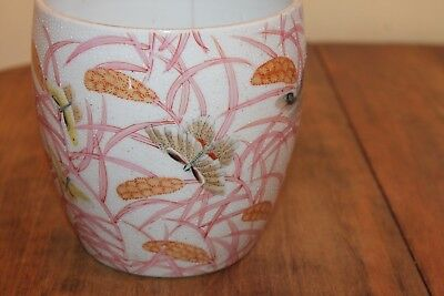 Antique Asian Pot Butterflies Bamboo Hand painted Signed 5 1/2""