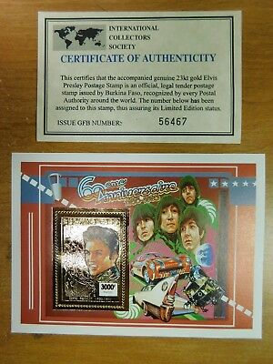 Elvis Presley 60 Anniversary 23kt Gold Burkina Faso Postage Stamp with COA 56467