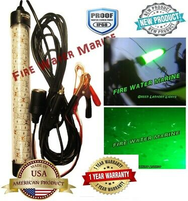 "12"" DELUX LED GREEN UNDERWATER SUBMERSIBLE NIGHT FISHING LIGHT crappie squid ICE"