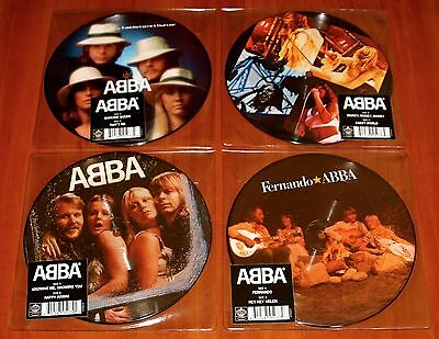 "ABBA 4x 7"" PICTURE DISC 40th VINYL Lot DANCING QUEEN KNOWING MONEY FERNANDO New"