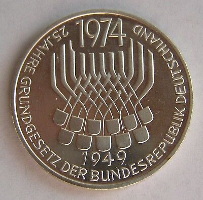 Germany Federal Silver 5 mark 1974 25th Anniversary - Constitutional Law