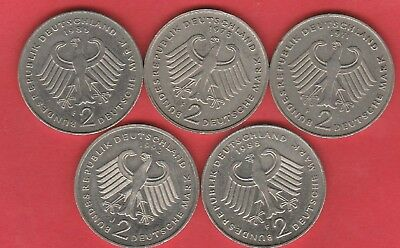 Germany 2 Mark Coins X5 , 1971 , 1978 , 1988(2) , 1992 Coins
